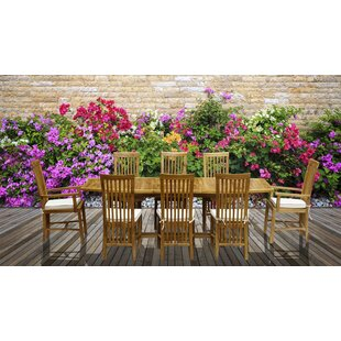 9 Piece Teak Dining Set with Cushions