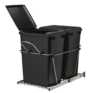 Rev-A-Shelf Double Roll Plastic 8.75 Gallon Pull Out Trash Can (Set of 2)