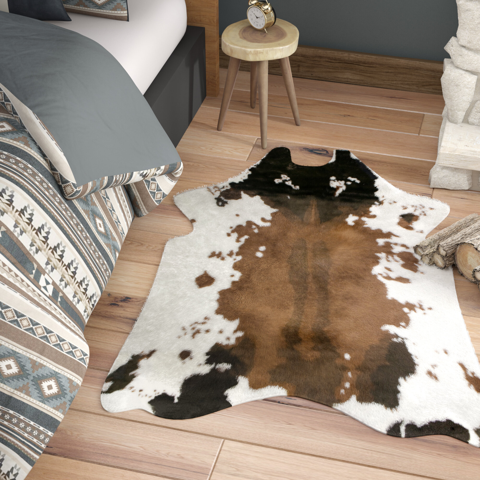 Armor Faux Cowhide White Brown Area Rug