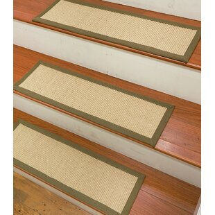 Ry Sisal Carpet Ivory Green Stair Tread Set Of 13