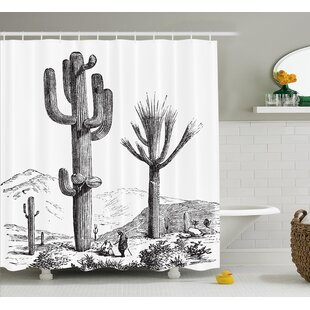 Brigitte Cactus Sketchy Hand Drawn Print of Desert Plants With Mexican Travellers Image Single Shower Curtain