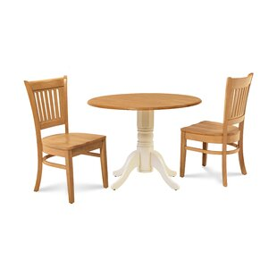 Thor 3 Piece Drop Leaf Solid Wood Dining Set Millwood Pines