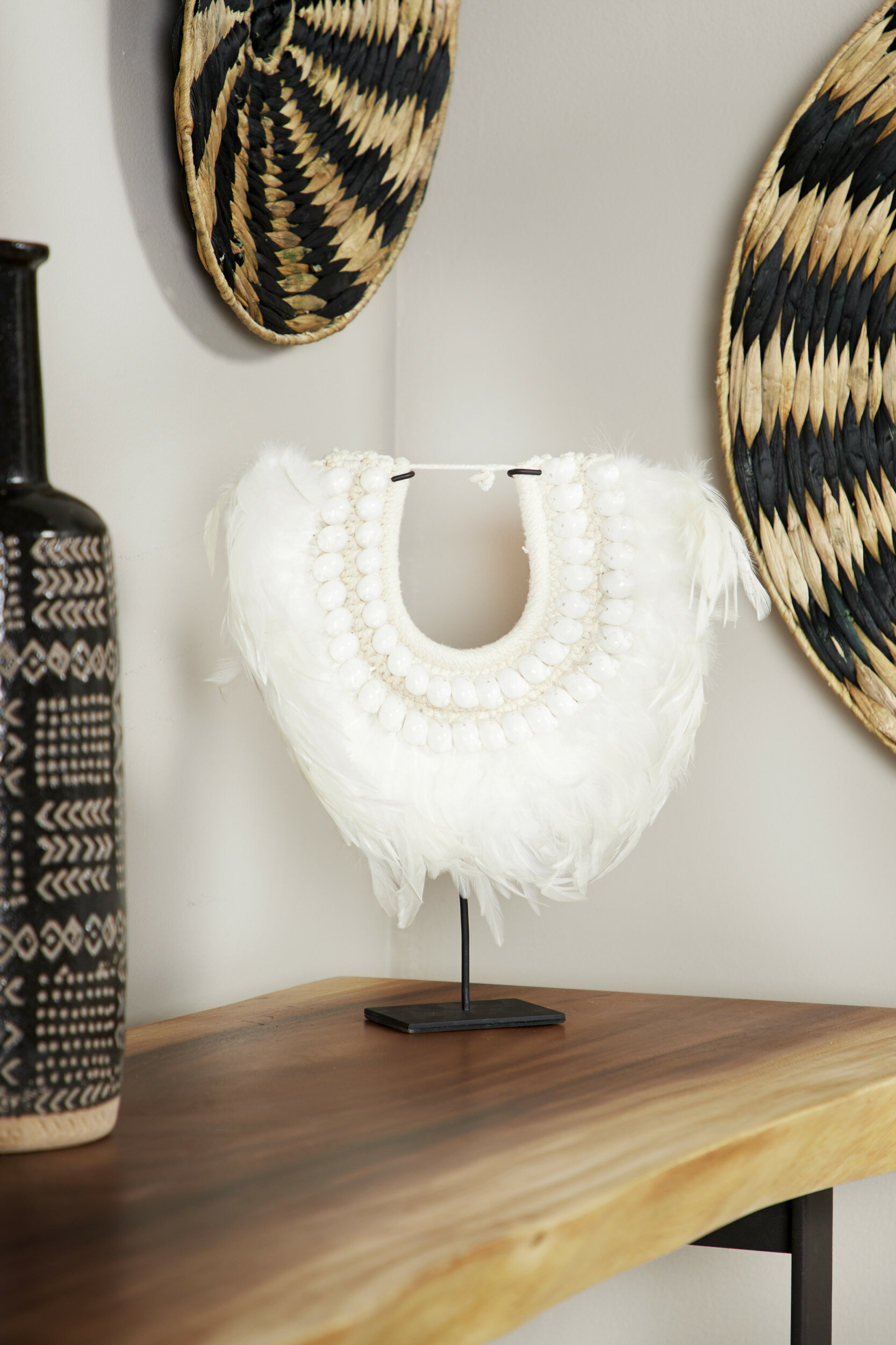Union Rustic Doherty Shell And Feather Tribal Necklace Displayed On Stand Sculpture Reviews Wayfair