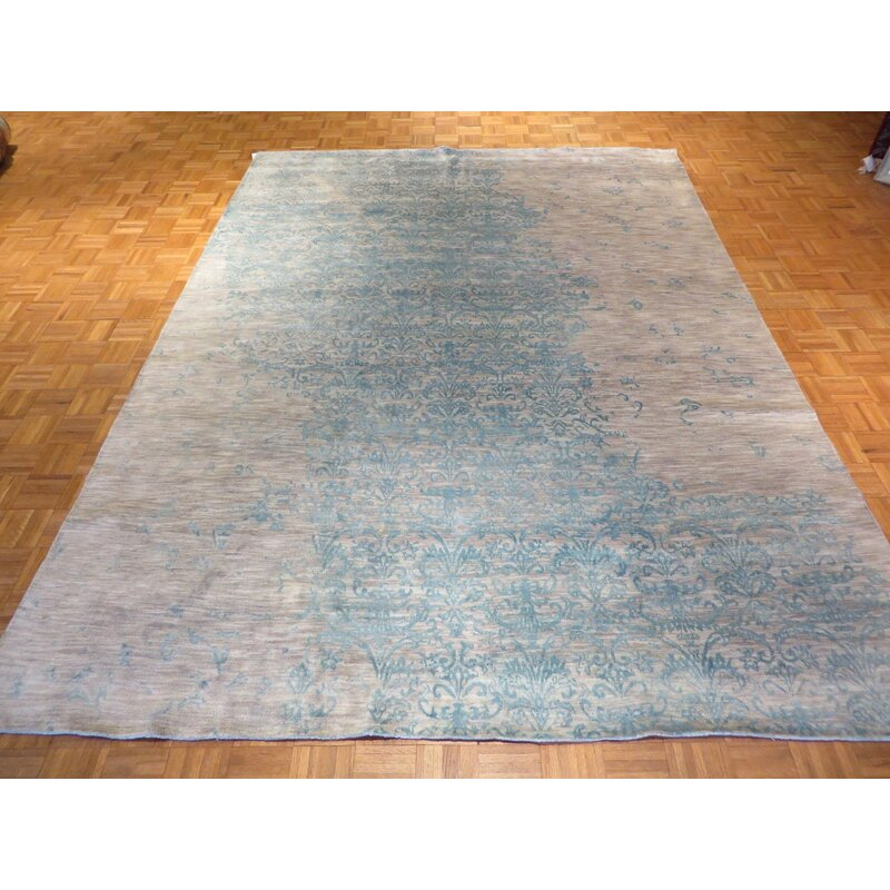 Bloomsbury Market One Of A Kind Pellegrino Hand Knotted Sky Blue Brown 8 6 X 11 8 Wool Area Rug Wayfair