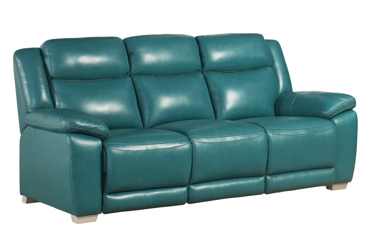 Evansburg Leather Reclining Sofa  sc 1 st  Wayfair : leather reclining sofas - islam-shia.org