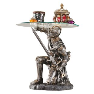 Battle Worthy Knight Sculptural End Table by Design Toscano