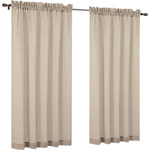 Baylee Faux Linen Solid Sheer Rod Pocket Curtain Panels (Set of 2)