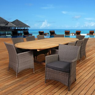 Beachcrest Home Catriona 11 Piece Teak Dining Set with Cushions