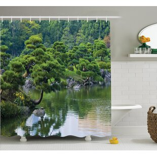 Odonnell Japanese River With Trees Flowers Stones Silence Single Shower Curtain