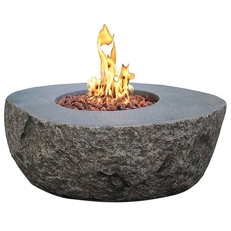 Wrought Studio Norrington Concrete Natural Gas Fire Pit Table Reviews Wayfair