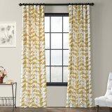 Fey Printed 100% Cotton Geometric Room Darkening Rod Pocket Single Curtain Panel
