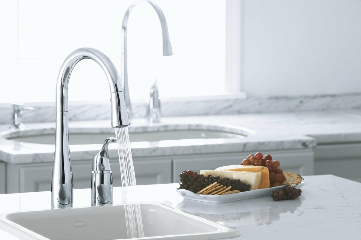 "kohler simplice two-hole kitchen sink faucet with 16-1/8"" pull"