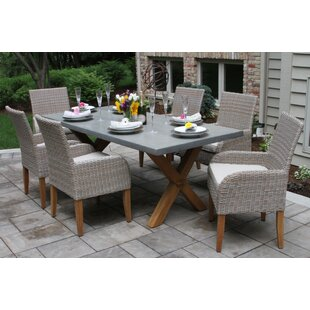 Charmant Marrero Choe 7 Piece Teak Dining Set With Sunbrella Cushions