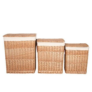 3 Piece Rectangular Wicker Laundry Set By House Additions