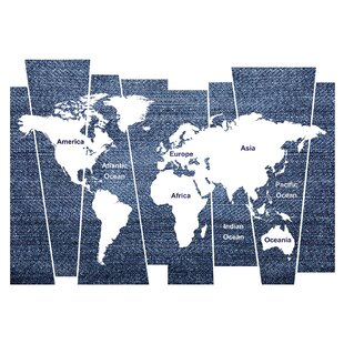 Large world map wall decal wayfair denim world map wall decal gumiabroncs Gallery