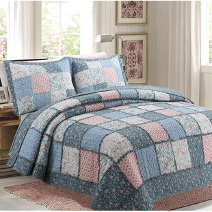 Mraz 100% Cotton 3 Piece Reversible Quilt Set