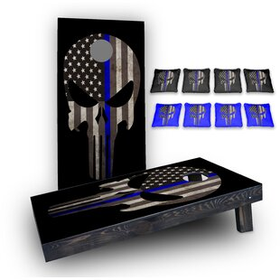 Custom Cornhole Boards Original Punisher Thin Blue Line Custom 10 Piece Cornhole Board Set