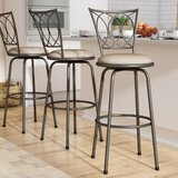 Abrams Light Brown Adjustable Height Swivel Bar Stool (Set of 3) by Three Posts™