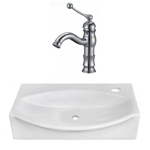 Ceramic 12 Wall Mount Bathroom Sink with Faucet ByAmerican Imaginations