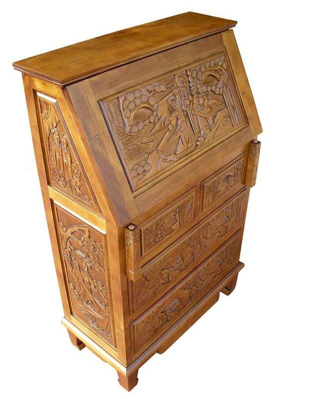 Chinese Carved Secretary Desk