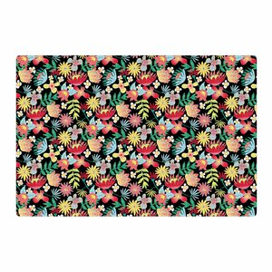 DLKG Design Flower Power Gold/Black Area Rug