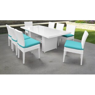 TK Classics Monaco 9 Piece Outdoor Patio Dining Set with Cushions