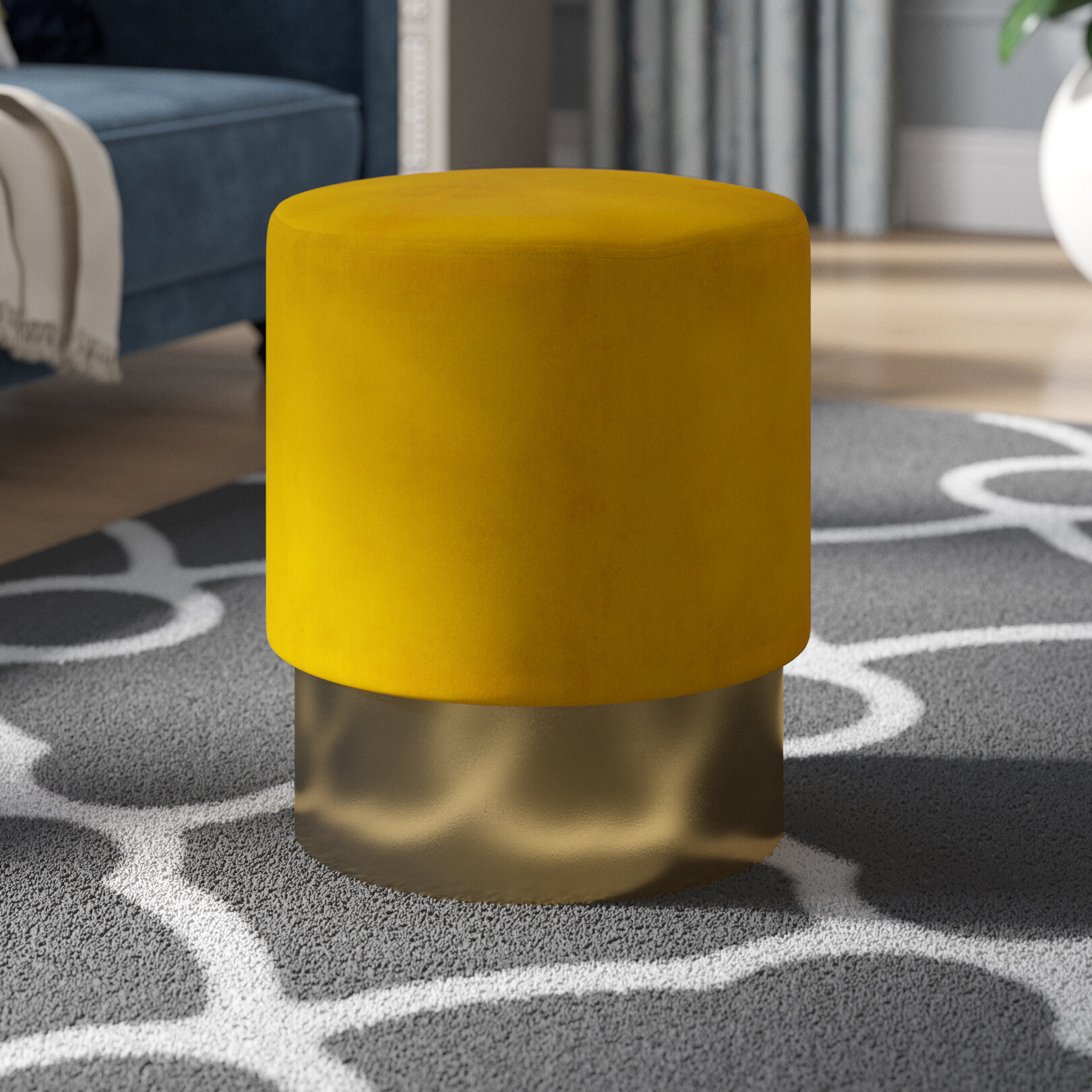 Awesome Labarbera Velvet Round Pouf Ottoman Caraccident5 Cool Chair Designs And Ideas Caraccident5Info