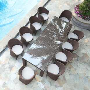 Bayou Breeze Shenelly Palm 11 Piece Dining Set with Cushions