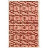 Genoa Geometric Handmade Tufted Wool Red/Gold Area Rug byMeridian Rugmakers