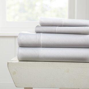 Alcott Hill Lucia Premium Ultra Soft Pinstriped 4 Piece Bed Sheet Set