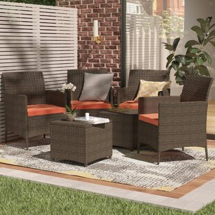 Auclair Wicker Patio 6 Piece Rattan Conversation Set with Cushions & Wicker Rattan Chairs Indoor | Wayfair