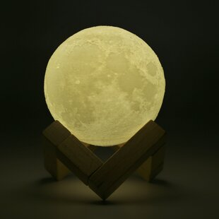 Lampwin Rechargeable 3D Print Moon Lamp 2 Color Change Touch Switch Bedroom  Bookcase Night Light