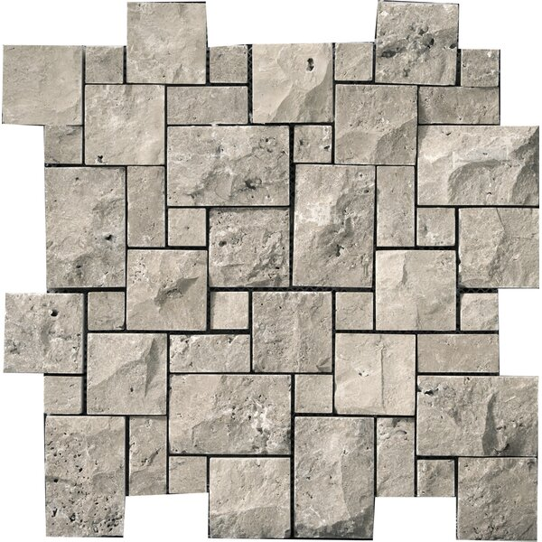 Emser Tile Travertine 1 X 2 12 X 12 Splitface Offset Mosaic In Silver Wayfair