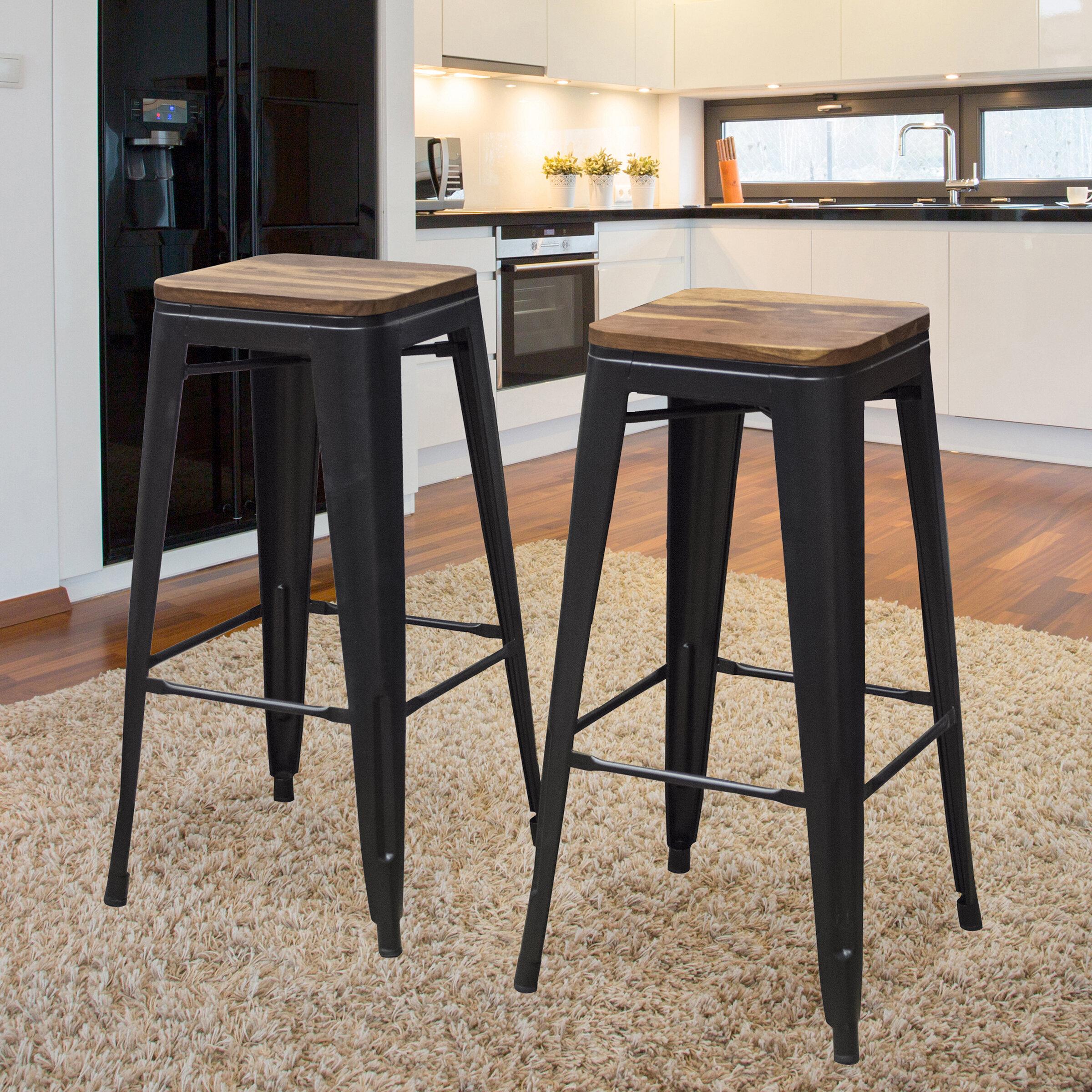 Take Me Home Furniture Tolix Barstool 30 H Black Set of 4 in Black