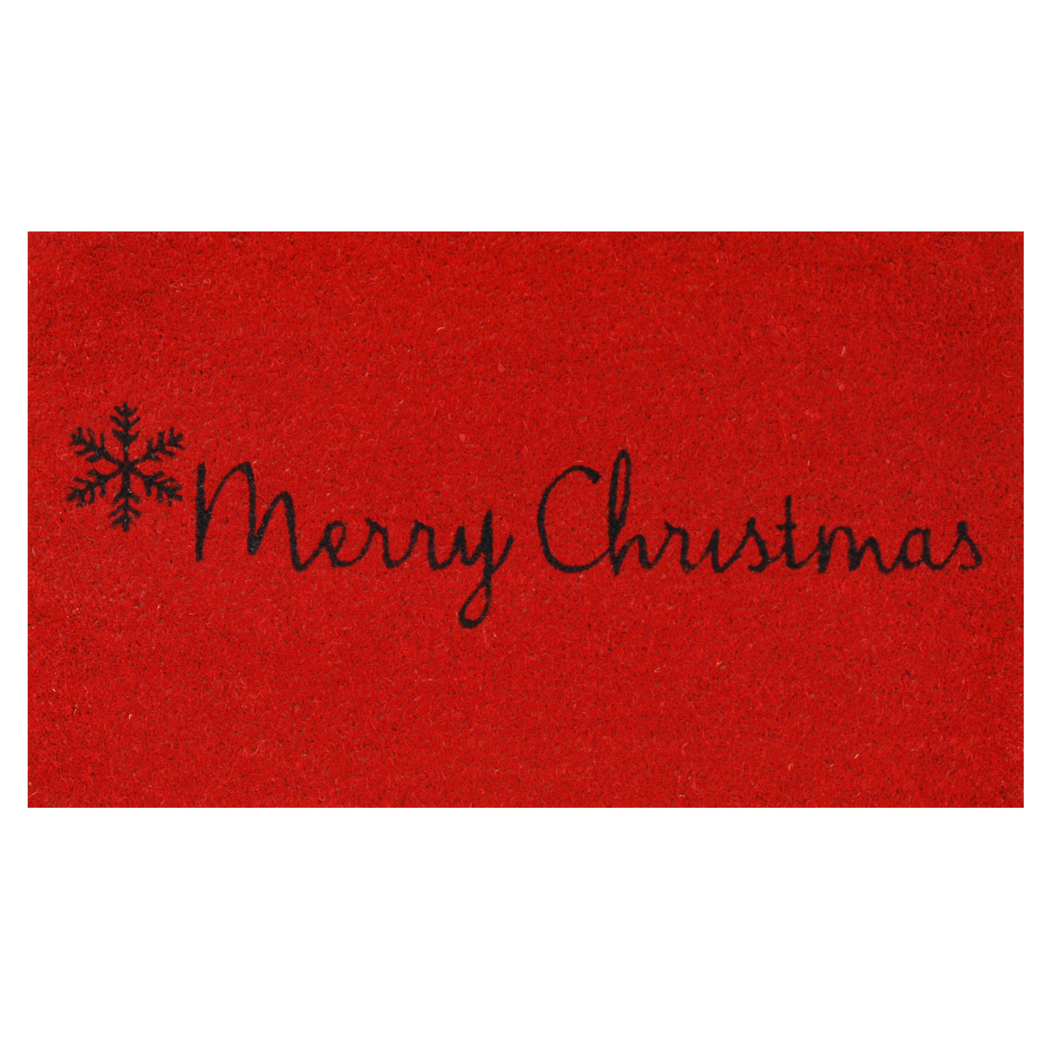 """Christmas NOEL Holiday RED Holly WELCOME Rug Door Mat Doormat 20/"""" x 30/"""" NEW"""