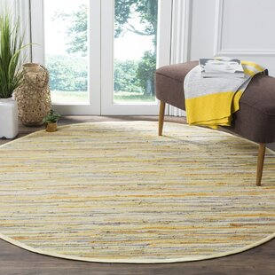Jaylon Hand-Woven Cotton Yellow/Gray Area Rug by Bungalow Rose