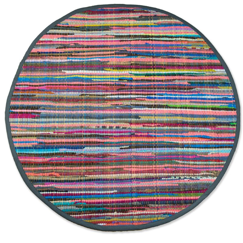 Isabelline One Of A Kind Crusado Hand Knotted Pink 3 Round Cotton Area Rug Reviews Wayfair