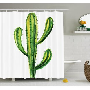 Lindsay Mexican Hot Desert Cactus Flower Plant Botanic Nature Cartoon Like Print Image Single Shower Curtain