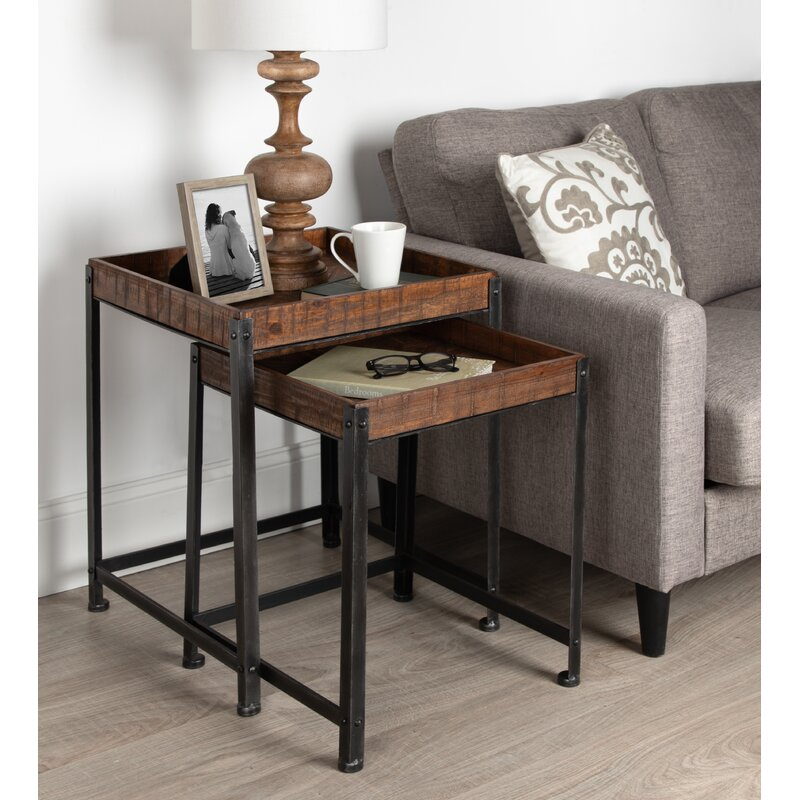 17 Stories Malachy Rustic Modern Side Accent 2 Piece Nesting Tables Reviews Wayfair