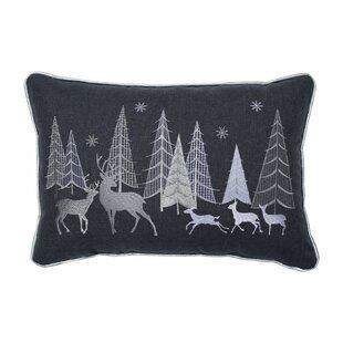 Silver Christmas Forest Scene Lumbar Pillow