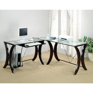 Bratches Sophisticated Computer Desk With Glass Top by Ebern Designs Great Reviews