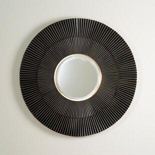 Corrigan Studio Round Steel Brass MDF and Mirror Wall Mirror