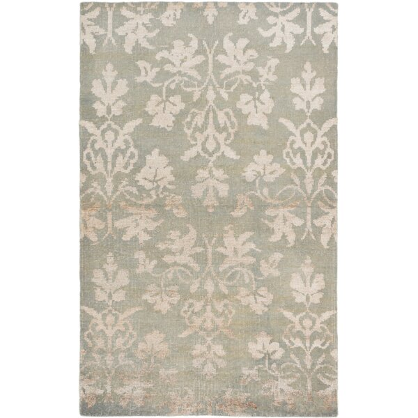 One Of A Kind Houston Hand Knotted Light Green Area Rug