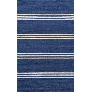 Dreadnought Hand-Hooked Blue Indoor/Outdoor Area Rug