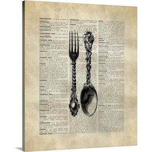 U0027Vintage Dictionary Art Spoon And Fork By Kate Lillyson Graphic Art Print