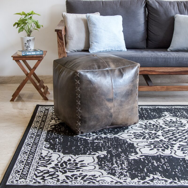 Genuine Leather Square Pouf Ottoman