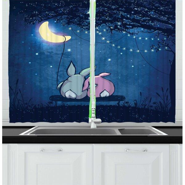 East Urban Home 2 Piece Half Moon Rabbit Couple Under Starry Night Sky Kitchen Curtain Set Wayfair