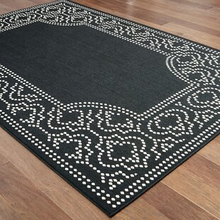 Salerno Intricate Border Black/Ivory Indoor/Outdoor Area Rug