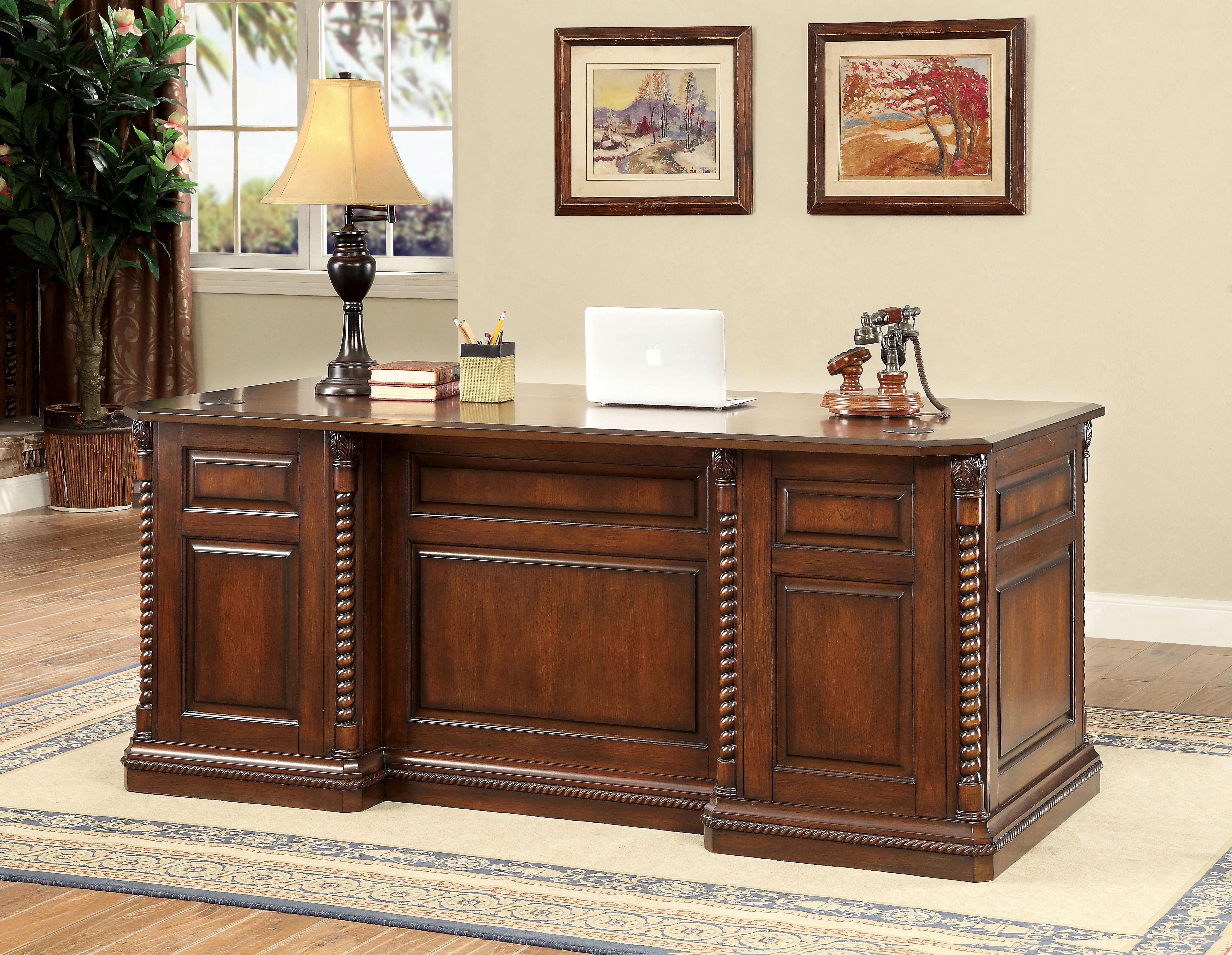 Gentil Darby Home Co Ardnaglass Traditional Dark Oak Executive Desk | Wayfair