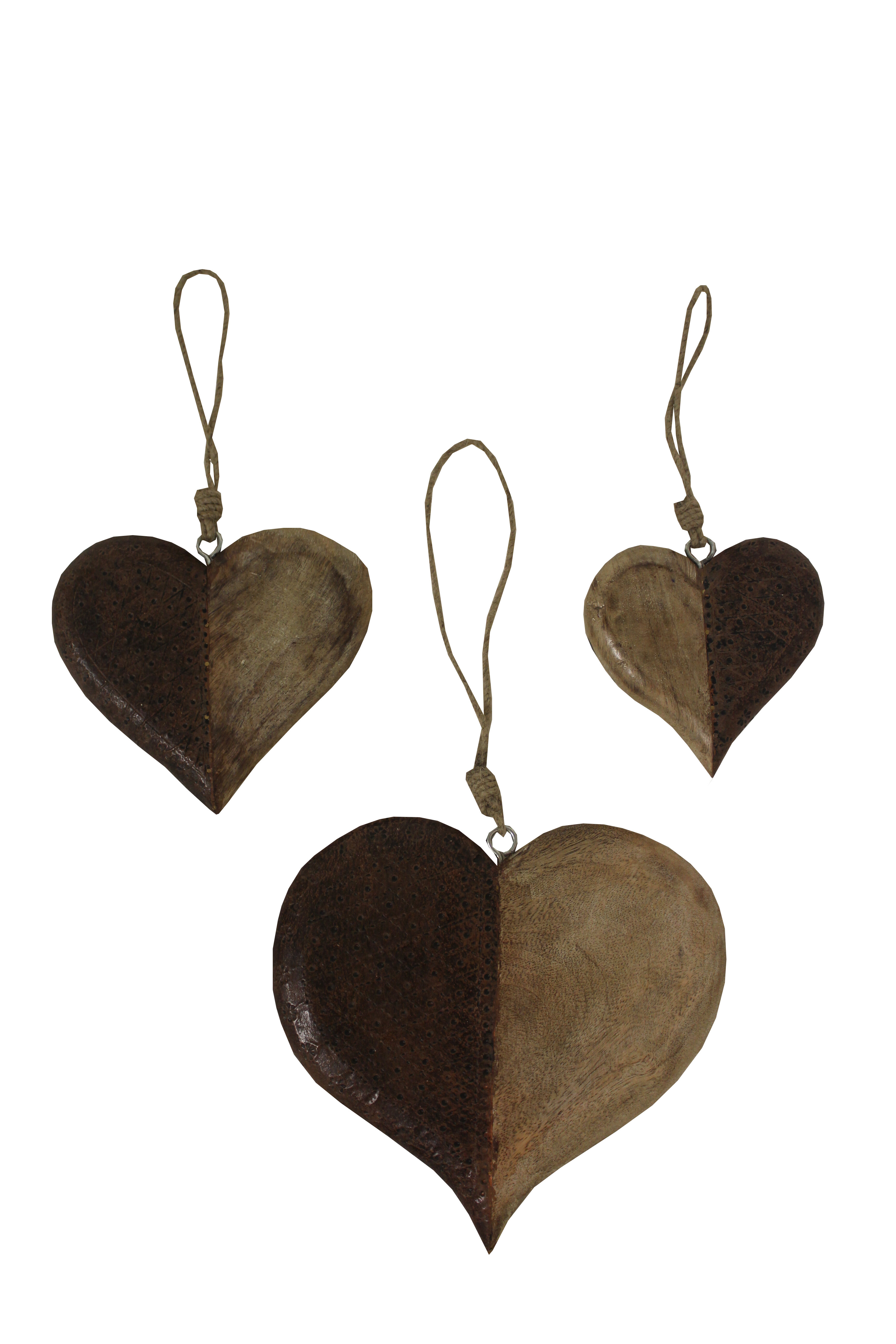 3 Piece Decorative Wood And Metal Hanging Heart Wall Decor Set